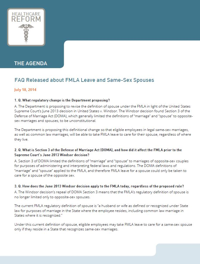 FAQ Released about FMLA Leave and Same Sex Spouses