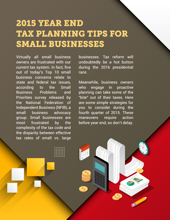 2015 Year End Tax Planning Tips for Small Businesses