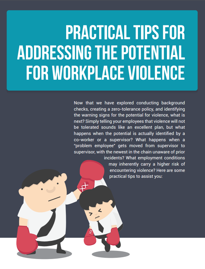 Practical Tips for Addressing the Potential for Workplace Violence
